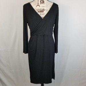 LOFT Long Sleeve Ruched V-Neck Black Dress